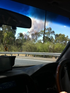 Snapshot from moving car of the bushfire smoke