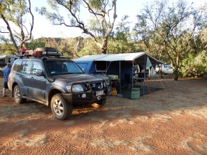 Our Camper Trailer set up at Windjana Gorge