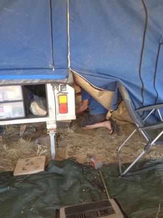 Craig working on repairs to trailer