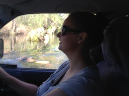 Emma driving across the Pentecoste at El Questro Station