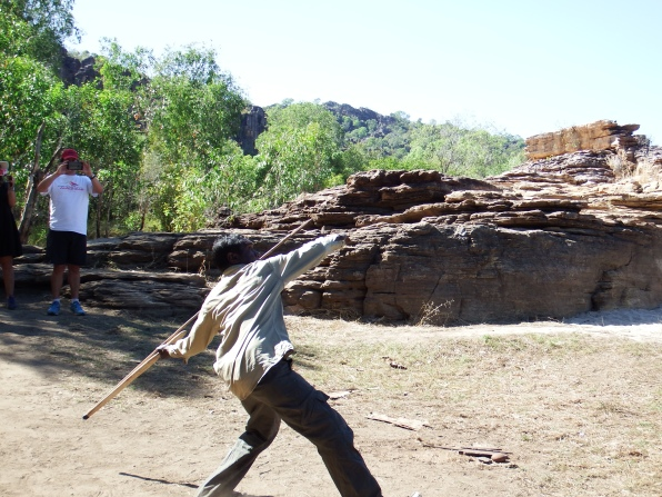 Neville demonstrating spear throwing, Kakadu NP