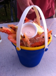A bucket of prawns for starter at the Ski Club