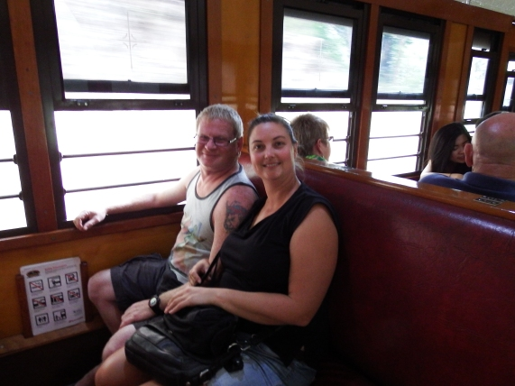 Craig and Emma on the Kuranada Scendic Railway