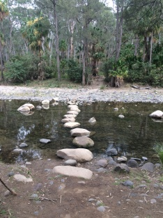 Stepping stones across the creek, Carnarvon Gorge NP