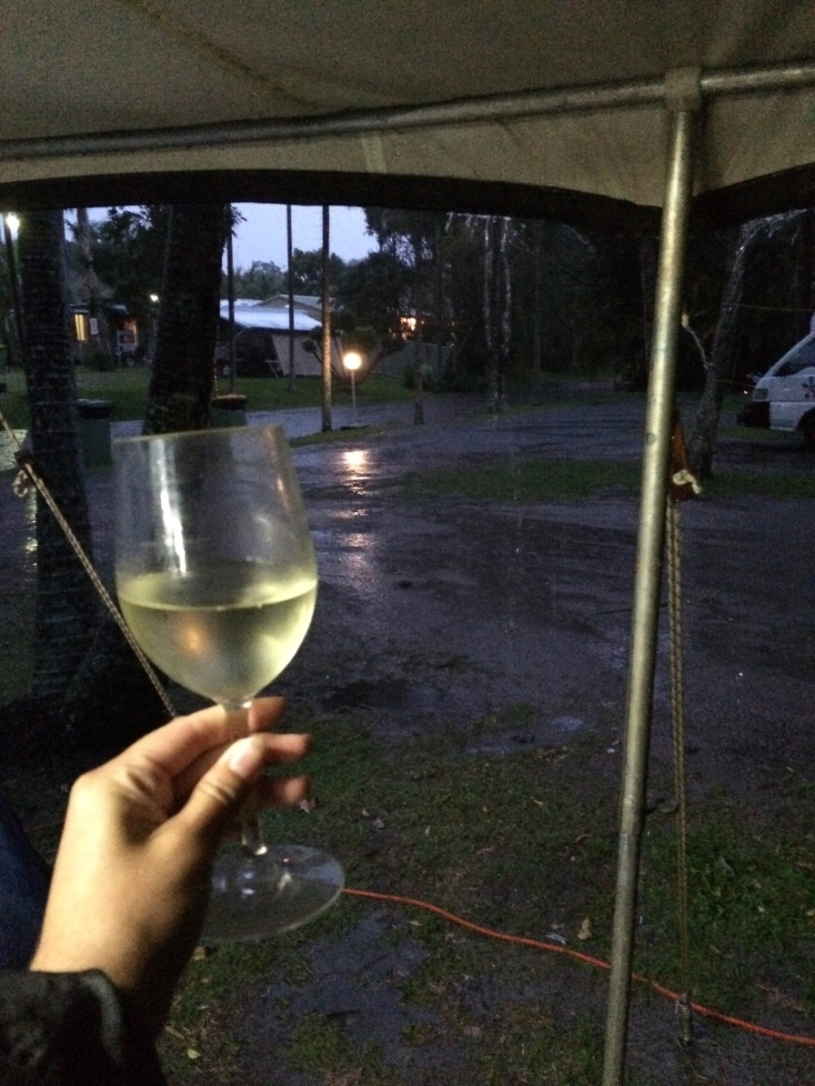 When it rains … carry on and drink wine
